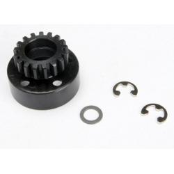 Clutch bell (17-tooth)/5x8x0.5mm fiber washer (2)/ 5mm e-clip (requires 5x11x4mm ball bearings part #4611) (1.0 metric pitch)