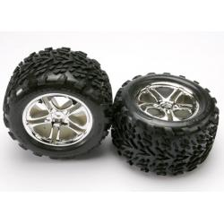 Tires & wheels, assembled, glued (SS (Split Spoke) chrome wheels, Talon tires, foam inserts) (2) (fits Maxx/Revo series)