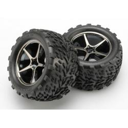 Tires and wheels, assembled, glued (Gemini black chrome wheels, Talon tires, foam inserts) (2)