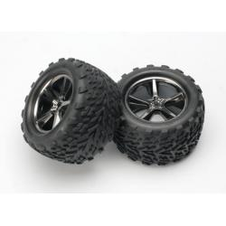 Tires & wheels, assembled, glued (Gemini black chrome wheels, Talon tires, foam inserts) (2)