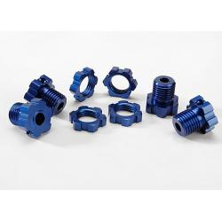 Wheel hubs, splined, 17mm (blue-anodized) (4)/ wheel nuts, splined, 17mm (blue-anodized) (4)/ screw pins, 4x13mm (with threadlock) (4)