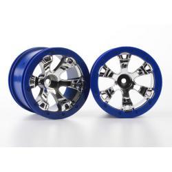 "Wheels, Geode 2.2"" (chrome, blue beadlock style) (12mm hex) (2)"