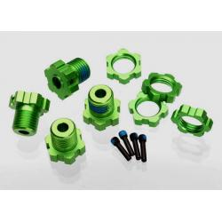 Wheel hubs, splined, 17mm (green-anodized) (4)/ wheel nuts, splined, 17mm (blue-anodized) (4)/ screw pins, 4x13mm (with threadlock) (4)