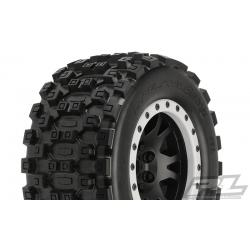 Badlands MX43 Pro-Loc All Terrain Tires Mounted for X-MAXX Front or Rear, Mounted on Impulse Pro-Loc Black Wheels with Stone Gray Rings