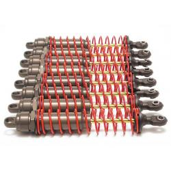 Big Bore shocks (xx-long) (hard-anodized & PTFE-coated T6 aluminum) (assembled) w/ red springs, TiN shafts (8 pack)