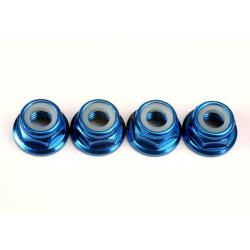 Nuts, 5mm flanged nylon locking (aluminum, blue-anodized) (4)