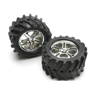 Tires & wheels, assembled, glued (SS (Split Spoke) chrome wheels, Maxx tires, foam inserts) (2) (fits Maxx/Revo series)