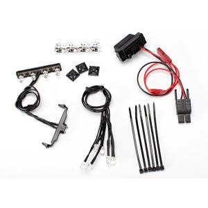 LED light kit, 1/16th Summit (power supply, chrome lightbar, roof light harness (4 clear, 2 red), chassis harness (4 clear, 2 red), wire ties, mounts)
