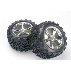 Tires & wheels, assembled, glued (Gemini chrome wheels, Talon tires, foam inserts) (2) (also fits Maxx series)