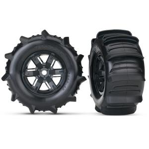 Tires & wheels, assembled, glued (X-Maxx black wheels, paddle tires, foam inserts) (left & right) (2)