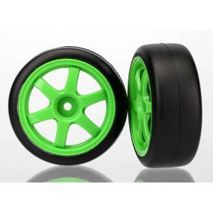 Tires and wheels, assembled, glued (Volk RacingTE37 green wheels, 1.9 Gymkhana slick tires) (2)