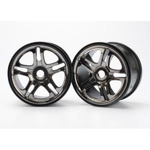 """Wheels, SS (split spoke) 3.8"""" (black chrome) (2) (use with 17mm splined wheel hubs & nuts, part #5353X) (fits Revo/Maxx series)"""