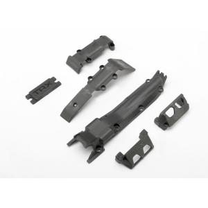 Skidplate set, front (1)/ rear (1)/ transmission (1)/ steering servo guards (2) / steering servo cover plate (1)