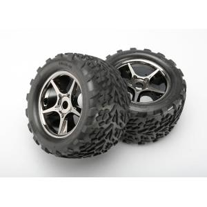 Tires & wheels, assembled, glued (Gemini black chrome wheels, Talon tires, foam inserts) (2) (use with 17mm splined wheel hubs & nuts, part #5353X) (TSM rated)