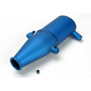 Tuned pipe, aluminum, blue-anodized (dual chamber with pressure fitting)/ 4mm GS