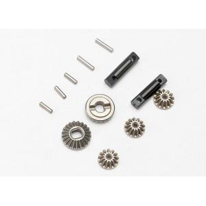 Gear set, differential (output gears (2)/ spider gears (3))/ differential output shafts (2)/ 1.5x6mm pin (3)/ 1.5x8mm pin (2)
