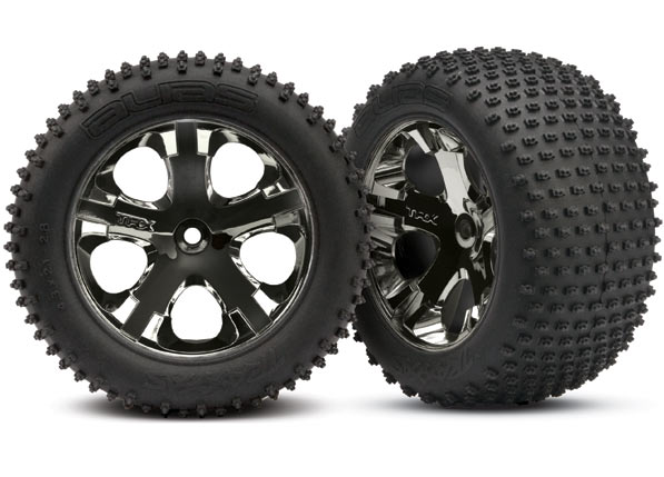 "Tires & wheels, assembled, glued (2.8"") (All-Star black chrome wheels, Alias tires, foam inserts) (rear) (2) (TSM rated)"