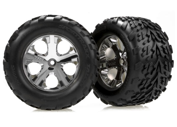 "Tires & wheels, assembled, glued (2.8"") (All-Star chrome wheels, Talon tires, foam inserts) (nitro rear/ electric front) (2)"