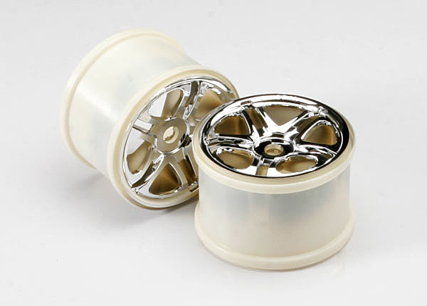 """Wheels, SS (split spoke) 3.8"""" (chrome) (2) (use with 17mm splined wheel hubs & nuts, part #5353X) (fits Revo/Maxx series)"""