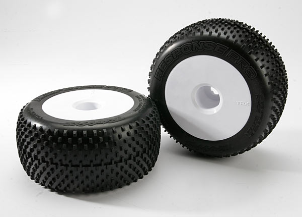 "Tires & wheels, assembled, glued (white dished 3.8"" wheels, Response Pro tires, foam inserts) (2) (use with 17mm splined wheel hubs and wheel nuts, part #5353X)"