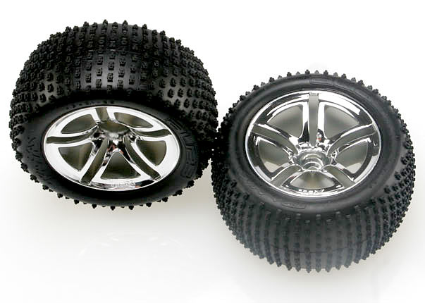 "Tires & wheels, assembled, glued (2.8"") (Twin-Spoke wheels, Aliastires,foaminserts)(nitrorear)(2)"