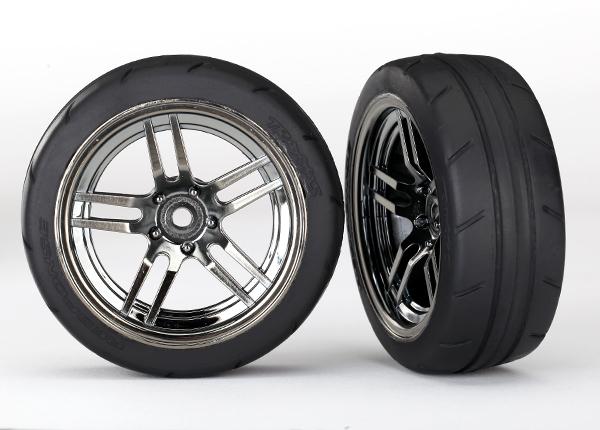 "Tires and wheels, assembled, glued (split-spoke black chrome wheels, 1.9"" Response tires) (front) (2)"