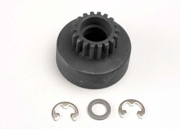 Clutch bell, (18-tooth)/ 5x8x0.5mm fiber washer (2)/ 5mm E-clip (requires #4609 - ball bearings, 5x10x4mm (2))