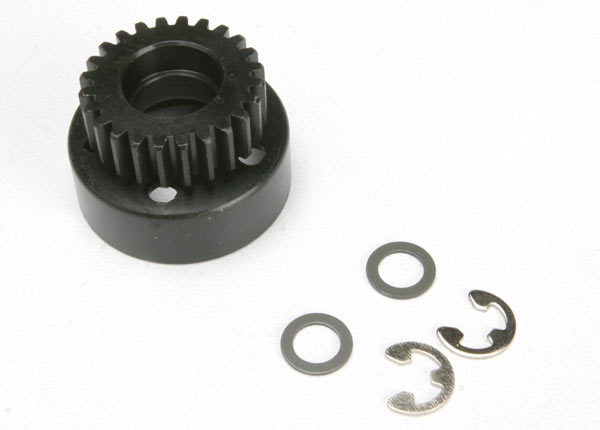 Clutch bell, (24-tooth)/ 5x8x0.5mm fiber washer (2)/ 5mm E-clip (requires #4611-ball bearings, 5x11x4mm (2))