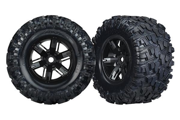 Tires & wheels, assembled, glued (X-Maxx black wheels, Maxx AT tires, foam inserts) (left & right) (2)
