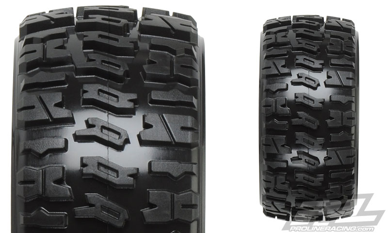 "Trencher 2.2"" M2 (Medium) All Terrain Tires Mounted for 1:16 E-REVO & 1:16 SUMMIT Front or Rear, Mounted on Desperado Black Wheels"