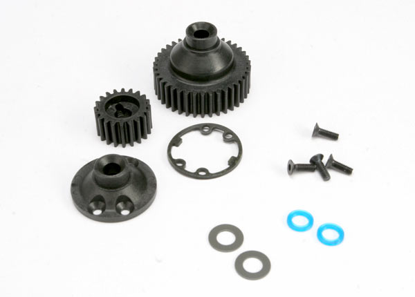 Gears, differential 38-T (1)/ differential drive gear 20-T/ side cover plate (1)/ gasket (1)/ output gear seals (x-ring) (2)/ 2.5x8mmCCS (4)/ 5x10x.5mmTW (2)