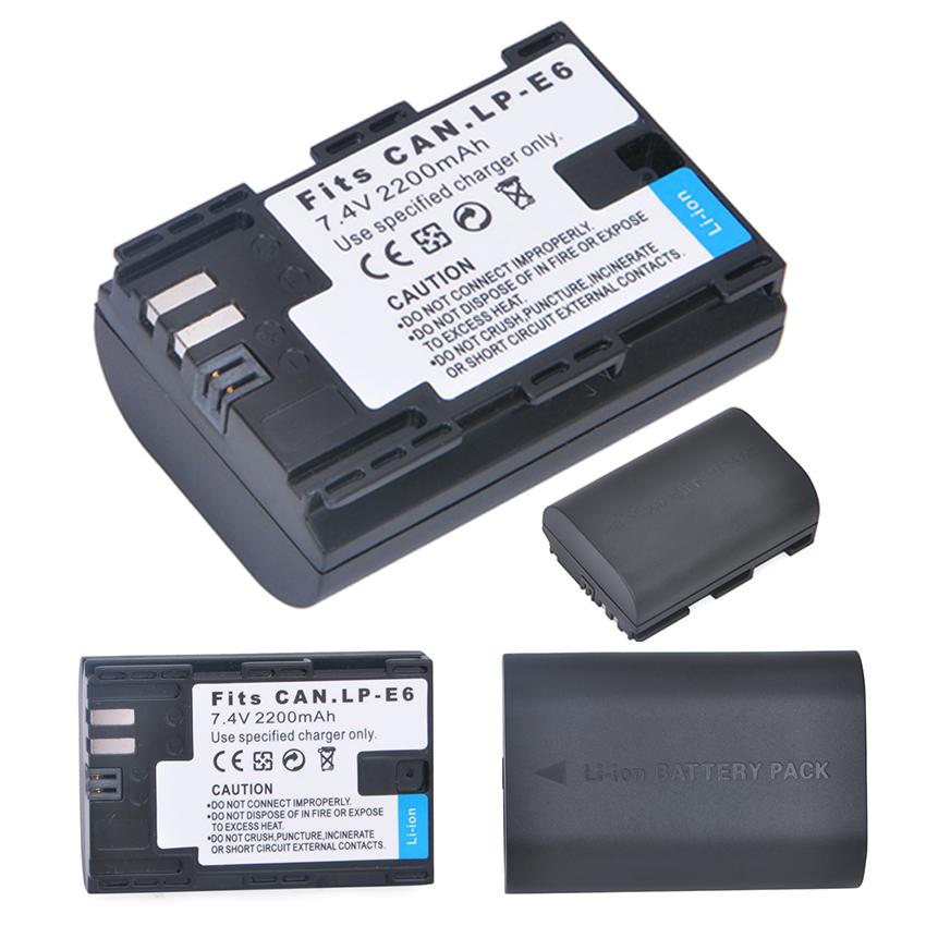 แบตเตอรี่กล้อง Canon LP E6 Li-ion Battery LP-E6 LPE6 2200mAh for Canon 6D 5D Mark III 5D Mark II 7D 60D Camera