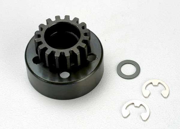 Clutch bell (15-tooth)/5x8x0.5mm fiber washer (2)/ 5mm e-clip (requires 5x11x4mm ball bearings part #4611) (1.0 metric pitch)