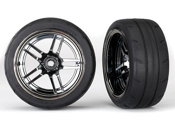 "Tires and wheels, assembled, glued (split-spoke black chrome wheels, 1.9"" Response tires) (extra wide, rear) (2)"