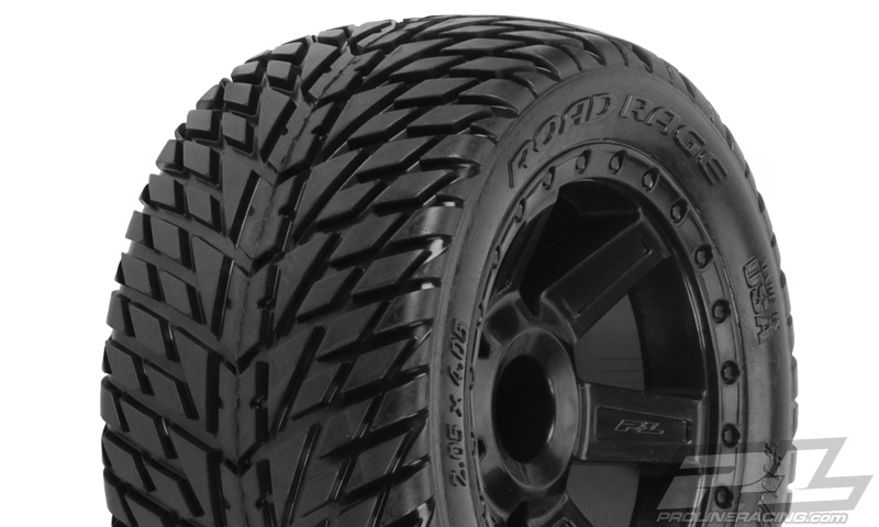 "Road Rage 2.8"" (Traxxas® Style Bead) Street Truck Tires Mounted for JATO, Nitro Stampede/Rustler Rear, Electric Stampede/Rustler Front, and Stampede 4x4 F/R. Mounted on Desperado Black Wheels"