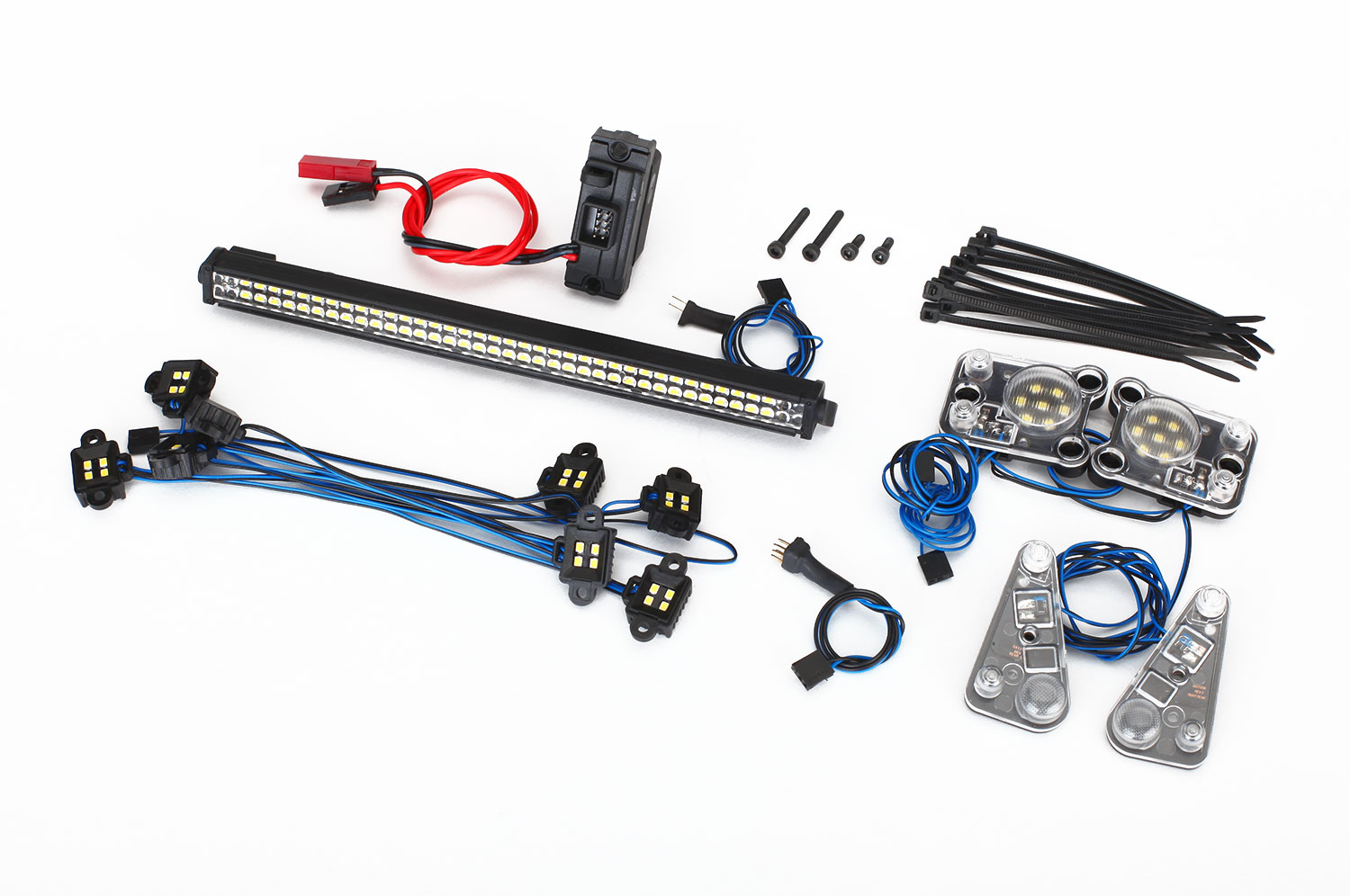 LED light set, complete (contains rock light kit, LED lightbar (Rigid®), LED headlight/tail light kit, power supply, and 3-in-1 wire harness) (fits #8011 body)