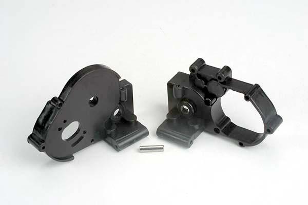 Gearbox halves (l&r) (black) w/ idler gear shaft
