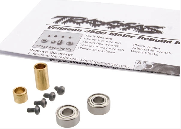 Rebuild kit, Velineon 3500 (includes plastic endbell, 5x11x4mm ball bearings (2), 2.5x5mm BCS (with threadlock) (4), rear bushing)