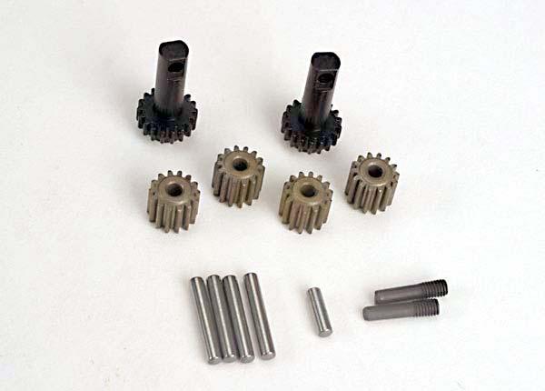 Planet gears (4)/ planet shafts (4)/ sun gears (2)/sun gear alignment shaft (1) all hardened steel