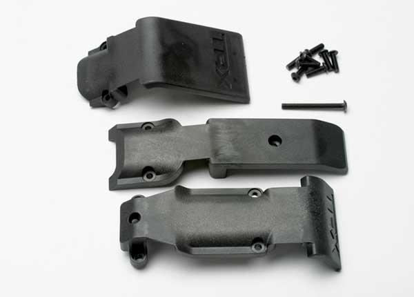 Skid plate set, front (2 pieces, plastic)/ skid plate, rear (1 piece, plastic)