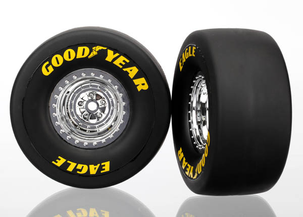 Tires & wheels, assembled, glued (chrome wheels, slick tires (S1 compound), foam inserts) (rear) (2)