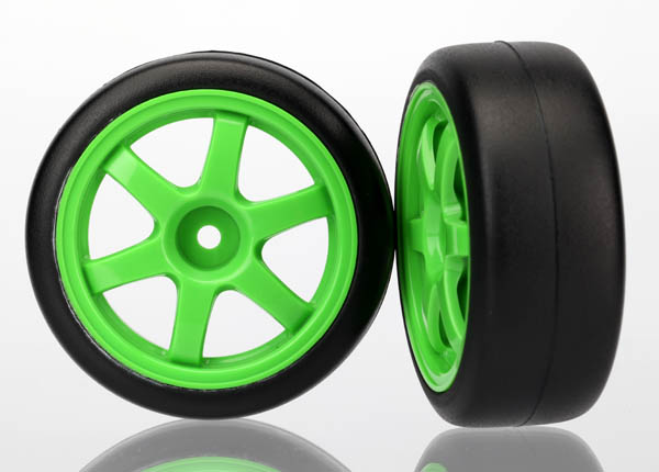 Tires and wheels, assembled, glued (Volk RacingTE37 green wheels, 1.9 Gymkhana slick tires) (2)