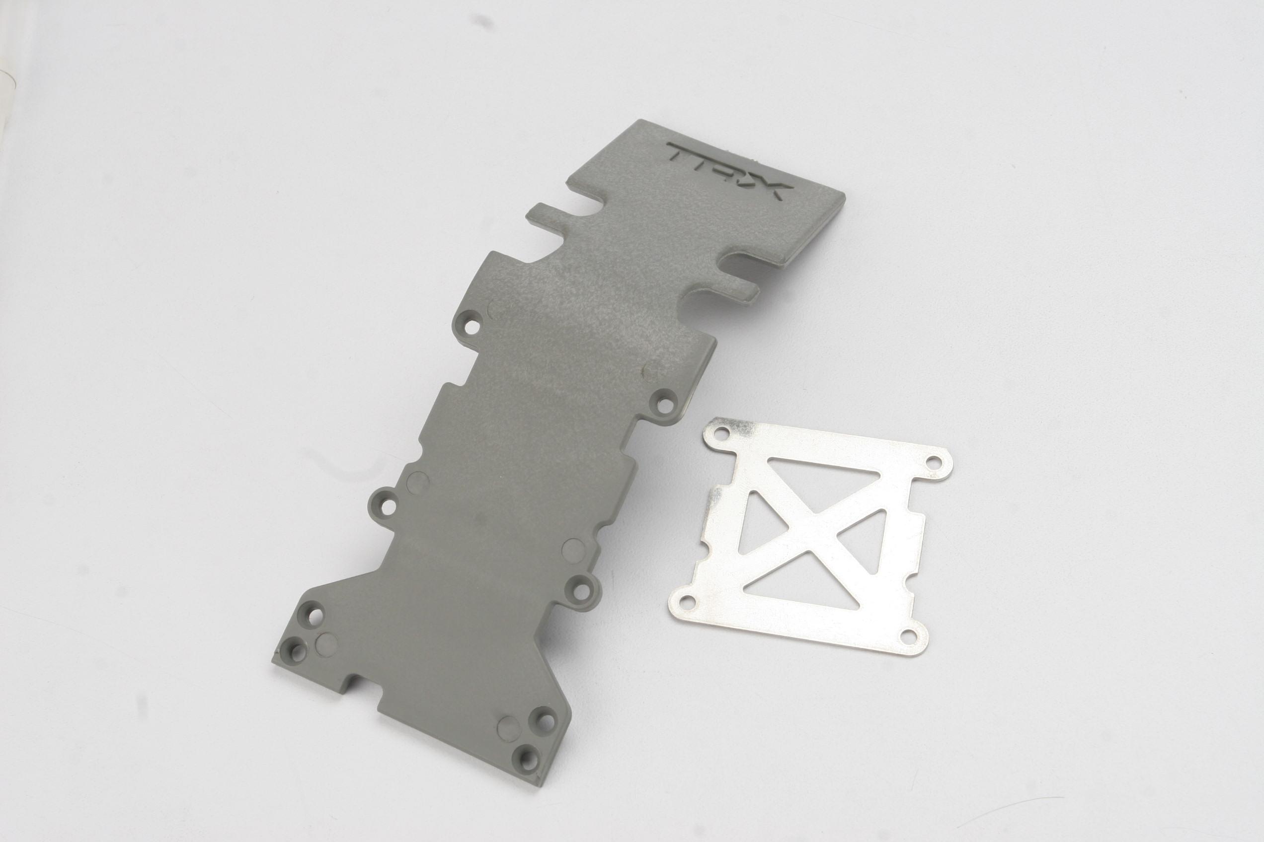 Skidplate, rear plastic (grey)/ stainless steel plate