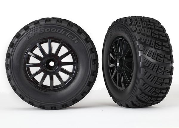 Tires & wheels, assembled, glued (black wheels, gravel pattern tires, foam inserts) (2) (TSM rated)