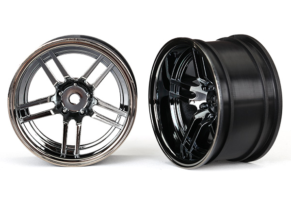 "Wheels, 1.9"" split-spoke (black chrome) (wide, rear) (2)"