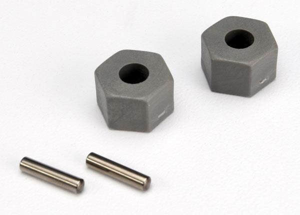 Wheel hubs, hex (tall offset, Rustler/Stampede front) (2)/ axle pins (2.5x10mm) (2)