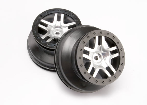 "Wheels, SCT Split-Spoke, satin chrome, black beadlock style, dual profile (2.2"" outer, 3.0"" inner) (4WD front/rear, 2WD rear only) (2)"