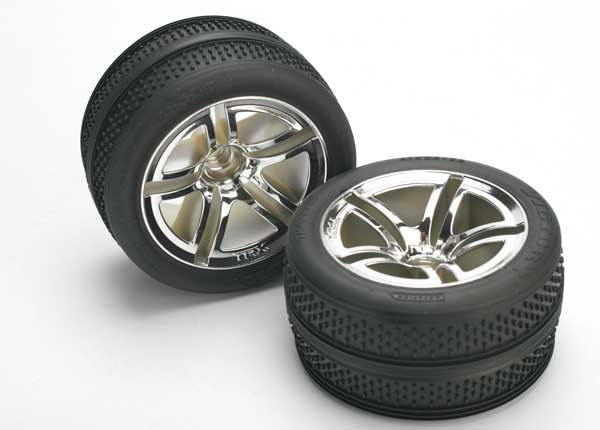 Tires & wheels, assembled, glued (Twin-Spoke wheels, Victory tires, foam inserts) (nitro front) (2)