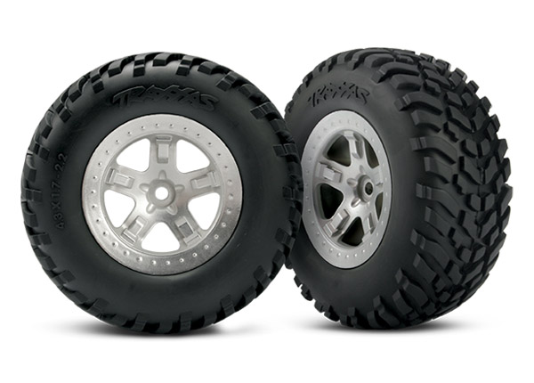 Tires & wheels, assembled, glued (SCT satin chrome, beadlock style wheels, SCT off-road racing tires, foam inserts) (2) (4WD front/rear, 2WD rear only) (TSM rated)