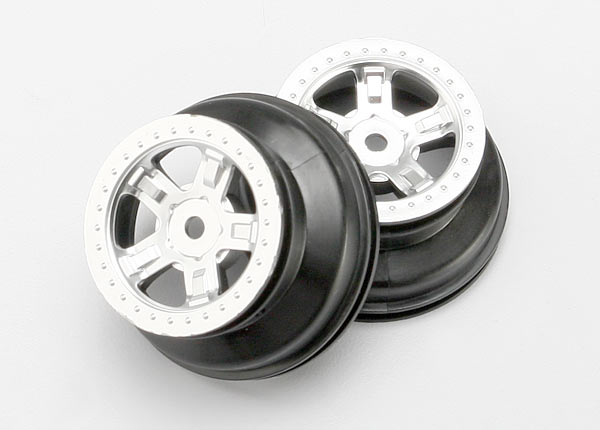 "Wheels, SCT satin chrome, beadlock style, dual profile (1.8"" inner, 1.4"" outer) (2)"